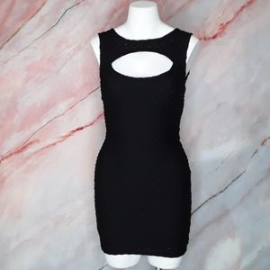 FREE PEOPLE Black Bodycon Dress with Cutout Front